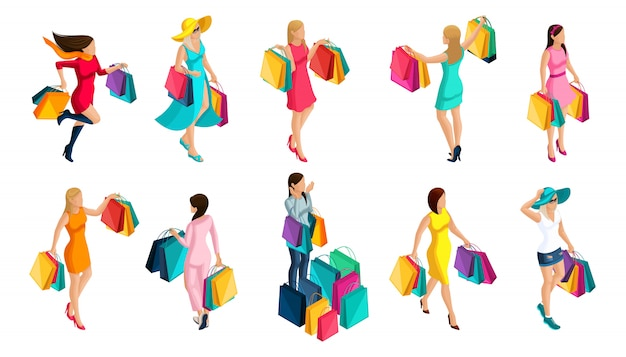 Isometria di una ragazza acquisto, vendita, pacchetti, vacanze, venerdì nero, vestiti alla moda per una ragazza moderna, per le illustrazioni