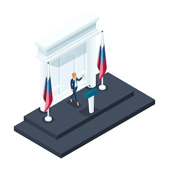 Isometria è una donna presidente, una candidata alla presidenza parla durante un briefing al cremlino. discorso del candidato, bandiera russa, elezioni, votazioni