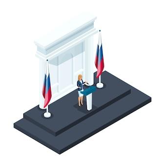 Isometria è una presidente donna, un candidato parla durante un briefing al cremlino. discorso del candidato, bandiera russa, elezioni, votazioni