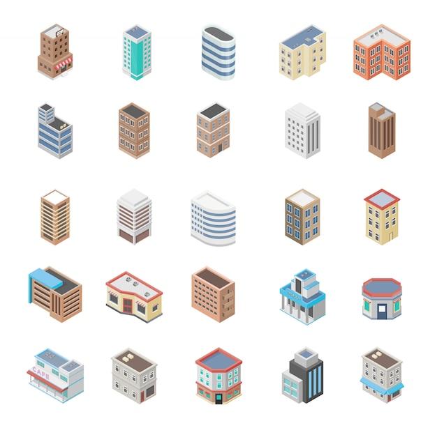 Isometric business buildings premium
