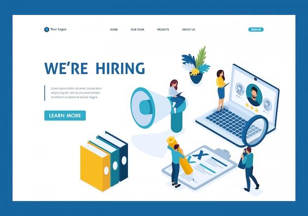 Isometric hr manager, assumiamo dipendenti per la nostra azienda, reclutando il concetto pagina di destinazione
