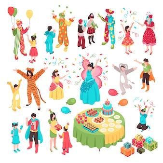 Isometrica animatore festa bambini set con personaggi umani isolati intrattenitori adulti in costumi e bambini