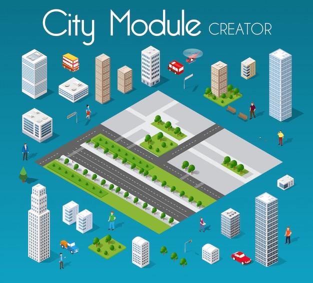 Isometrica città modulo impostato