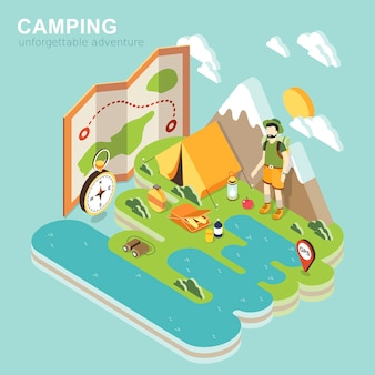 Isometrica dell'avventura in campeggio