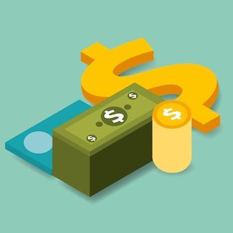 Isometrica delle banconote e delle monete della carta di credito della banca di affari