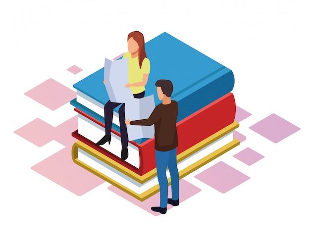 Isometrica di donna e uomo, leggendo il giornale intorno alla pila di libri su sfondo bianco