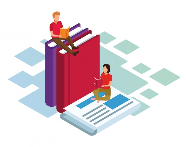 Isometrica di donna e uomo, leggendo libri e giornali su sfondo bianco