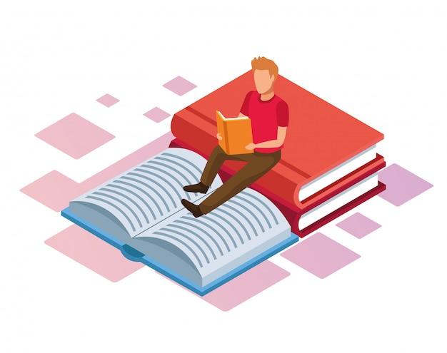 Isometrica di grandi libri e uomo che legge un libro su sfondo bianco