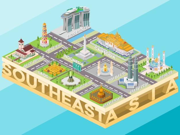 Isometrica edifici del segno di riferimento sud-est asiatico