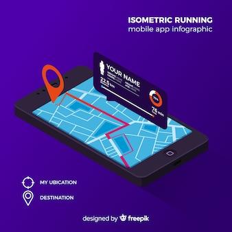 Isometrica esecuzione mobile app infografica