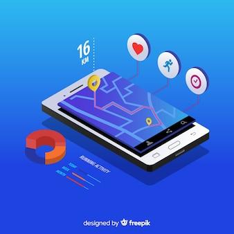 Isometrica in esecuzione app mobile infografica