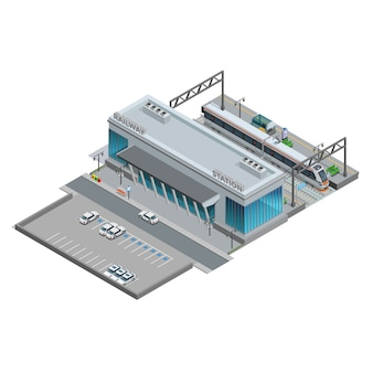 Isometrica miniatura della stazione ferroviaria