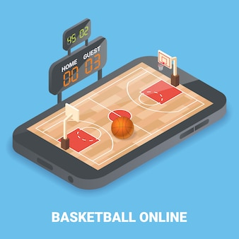 Isometrica piana di pallacanestro in linea