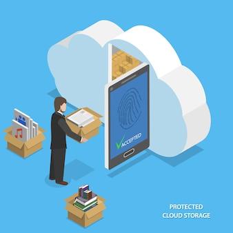 Isometrica piatta di archiviazione cloud protetta
