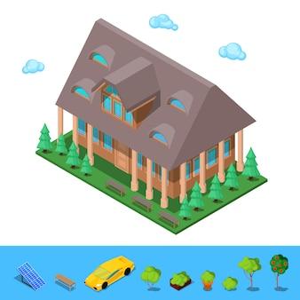Isometrica rurale cottege building house.