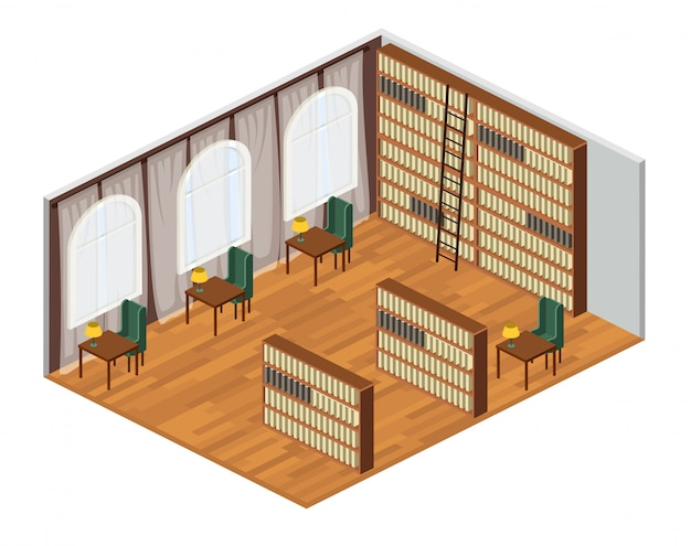 Isometrica sala biblioteca interna con scaffali, sedie e scrivanie. illustrazione.
