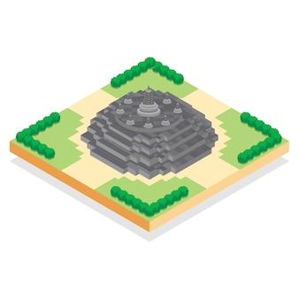 Isometrica tempio indonesiano di borobudur, illustrazione vettoriale