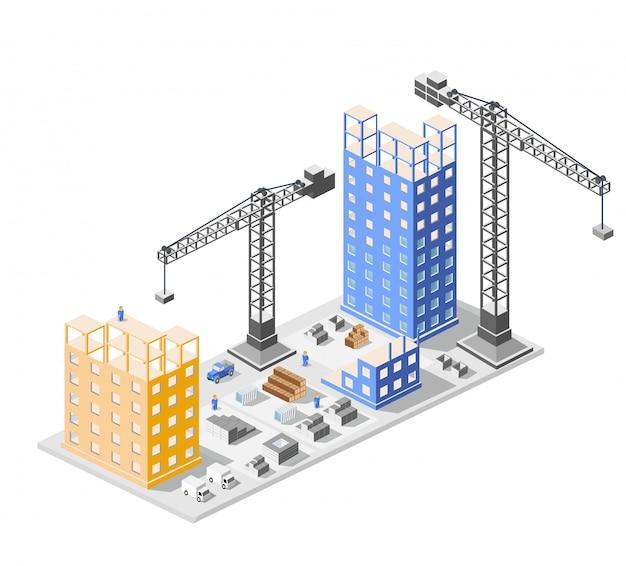 Isometrici di costruzione industriale nei grandi grattacieli della città in costruzione