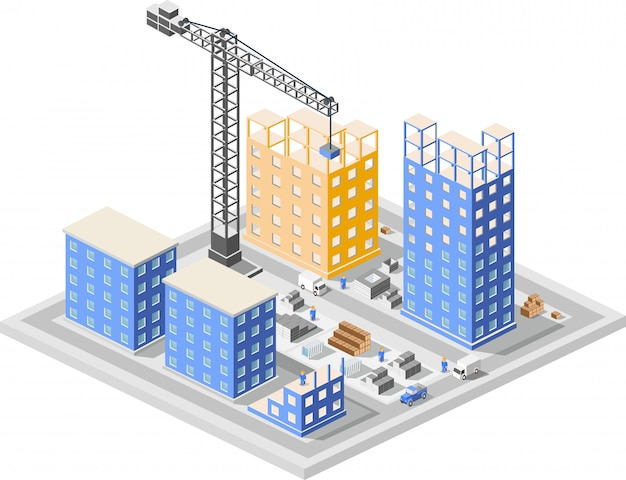 Isometrici di costruzione industriale nei grattacieli della città in costruzione