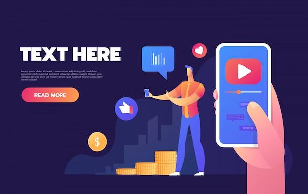 Isometrici moderni colorati, personaggi che guardano in diretta streaming sullo schermo dello smartphone, trasmissioni di blogger maschi, revisione di nuovi dispositivi,