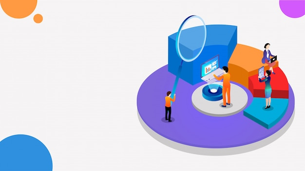 Isometrico 3d di grafico a torta, lente d'ingrandimento e analisi dei dati aziendali.