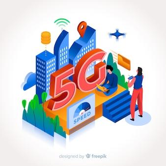 Isometrico 5 g con persone e tecnologia