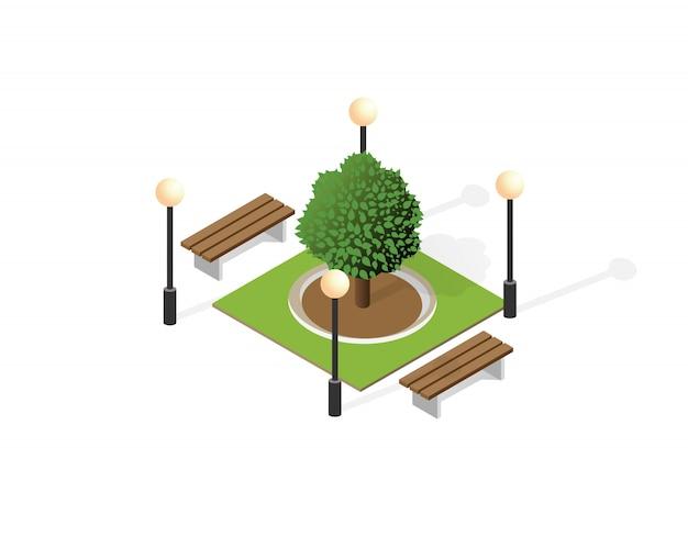 Isometrico del paesaggio di vista superiore del quartiere