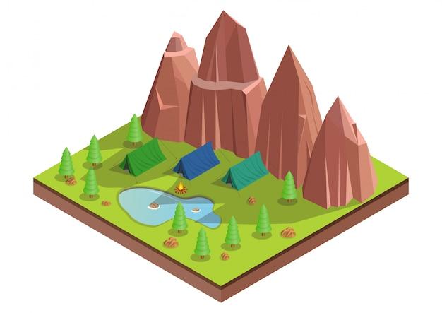 Isometrico dell'accampamento nella foresta.