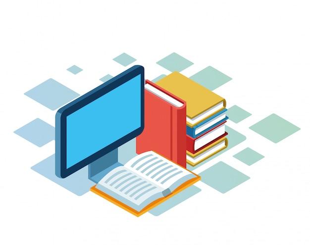 Isometrico di computer e libri su sfondo bianco