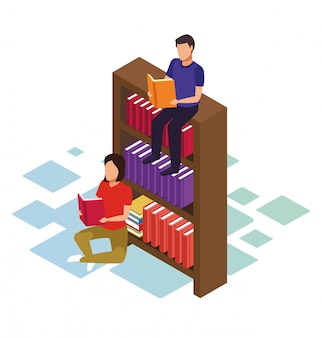 Isometrico di uomo seduto sullo scaffale e donna reding un libro su sfondo bianco