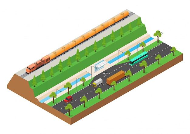 Isometrico il treno a cisterna petrolifera scorre sui binari