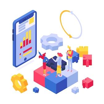 Isometrico isolato illustrazione startup funzionante del gruppo degli impiegati di riunione d'affari.
