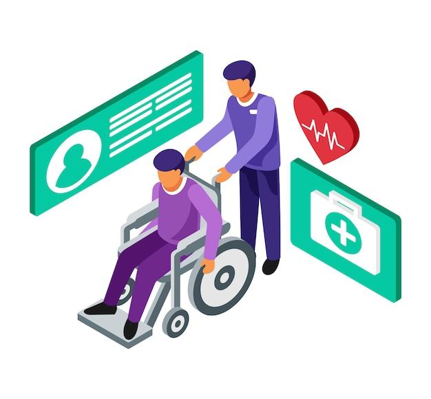 Isometrico trasporta un paziente su una sedia a rotelle