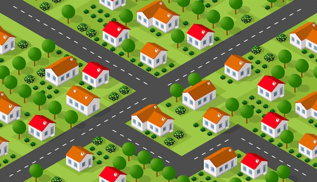 Isometrics villaggio seamless pattern