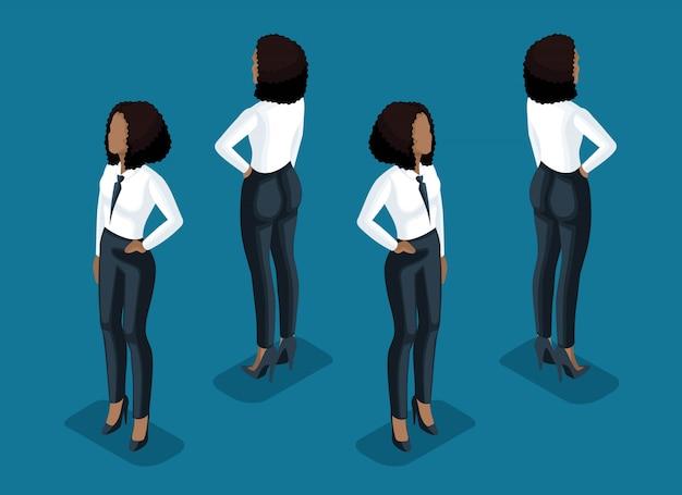 Isometry è una donna d'affari. ragazza di un impiegato, in pantaloni business e una camicetta vista frontale e una vista posteriore si trova. ragazza per