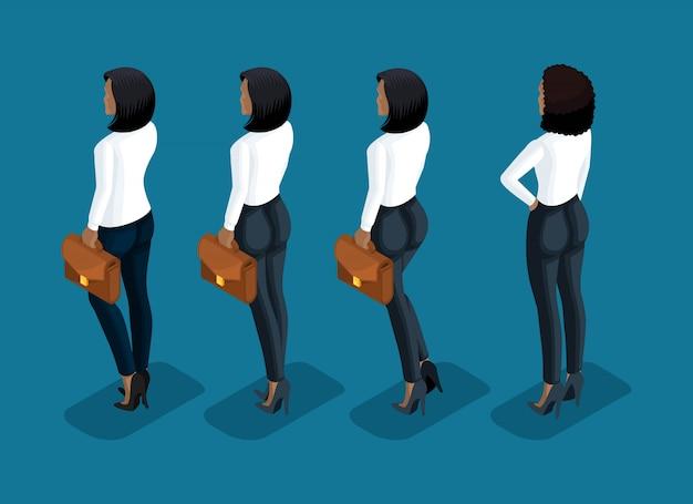 Isometry è una donna d'affari. ragazza di un impiegato, in pantaloni business e una camicetta vista posteriore in movimento. icona umana per le illustrazioni