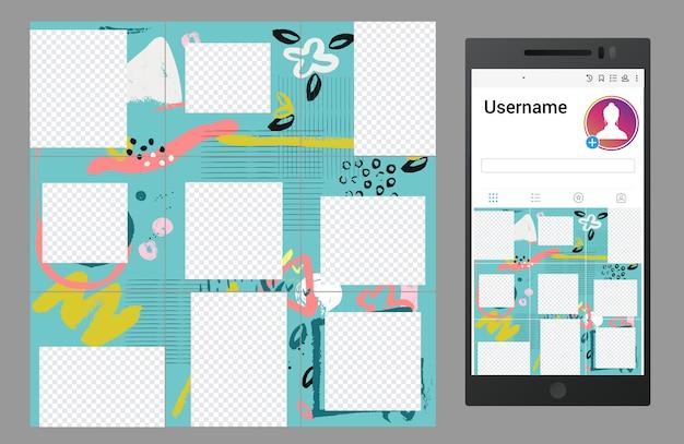 Ispirato al modello di puzzle dei social media di instagram