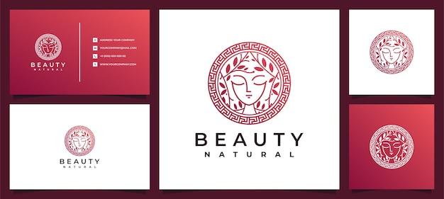 Ispirazione al design del logo delle donne di bellezza con biglietto da visita per la cura della pelle, saloni e spa, con combinazione di foglie