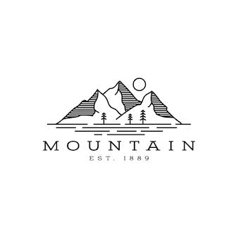 Ispirazione al design del logo di montagna e mare