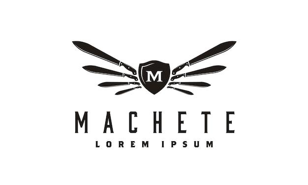 Ispirazione del design del logo di machete and wings shield