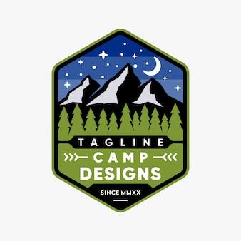 Ispirazione di design logo emblema camp