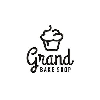 Ispirazione minimalista di progettazione di logo del forno del cupcake