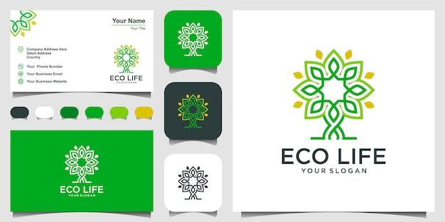 Ispirazione per il design del logo dell'albero. logo design e biglietto da visita