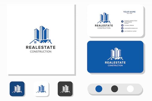 Ispirazione per il design del logo immobiliare e della costruzione di edifici. logo design e biglietto da visita