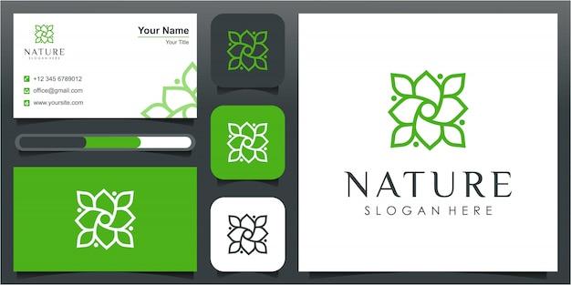 Ispirazione semplice per il design del logo della linea di fiori naturali. simbolo per lezioni di yoga, prodotti e confezioni di alimenti naturali e biologici, cerchi realizzati con foglie e fiori con linee semplici.