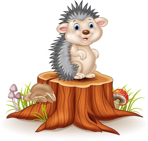 Istrice adorabile del bambino che si siede sul ceppo di albero