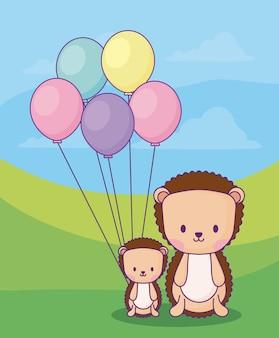 Istrici carini con palloncini