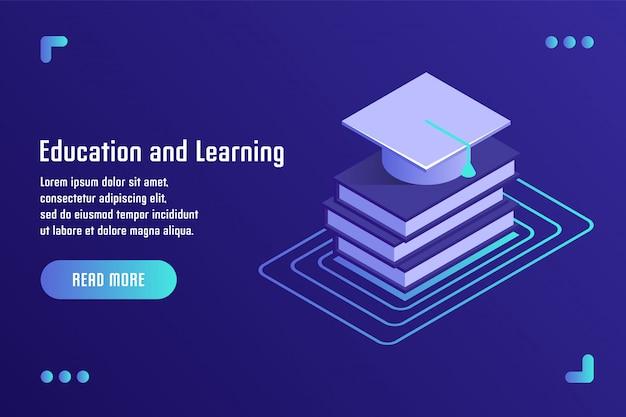 Istruzione e apprendimento, formazione online, formazione a distanza, tutorial, e-learning. illustrazione vettoriale in stile 3d isometrico piatto.