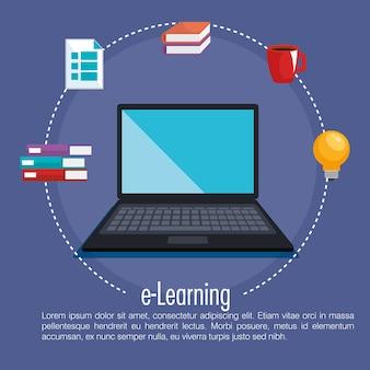 Istruzione elettronica con progettazione dell'illustrazione di vettore del computer portatile