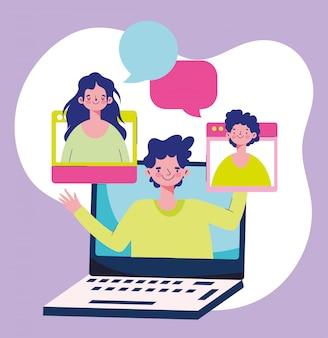 Istruzione online, insegnando a parlare con gli studenti di laptop